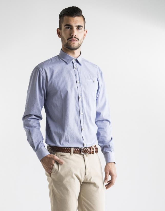 Camisa sport jacquard azul motivos verde