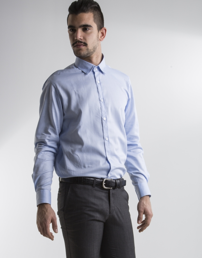 Chemise costume Oxford bleu clair