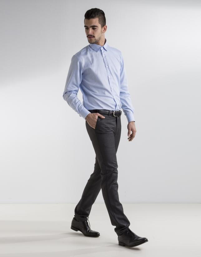 Chemise costume Oxford bleu clair