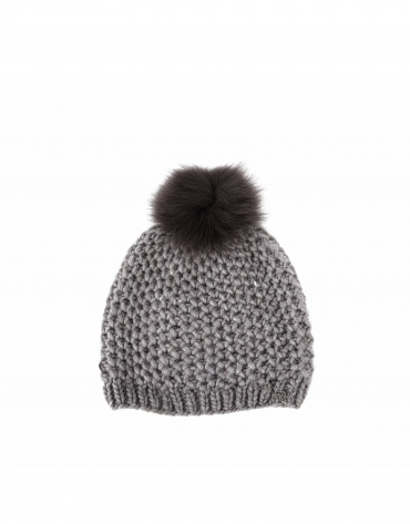 Dotted knit cap with fur pompom