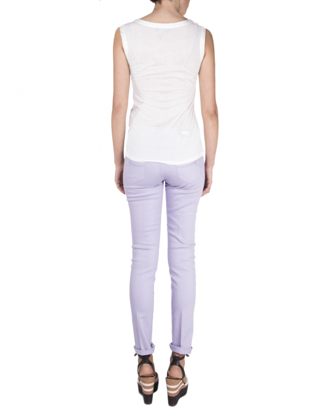 Off white sleeveless t-shirt