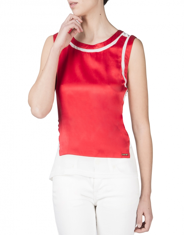 Red sleeveless t-shirt