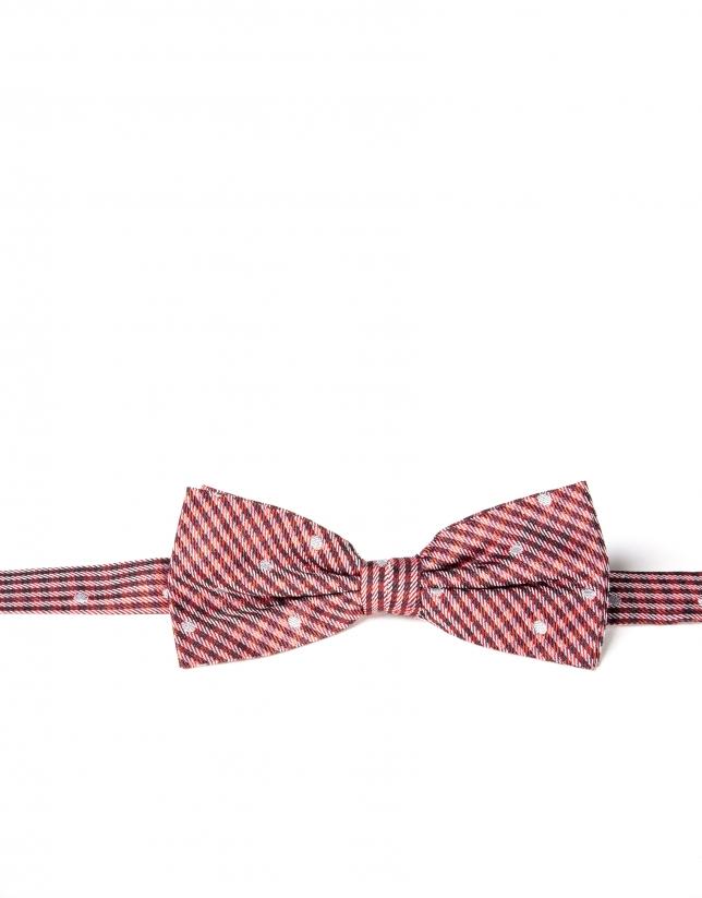 Cravate rouge à fleurs