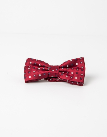 Red bowtie with beige microprint