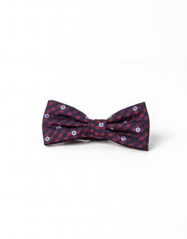 Navy blue and red micro checked bowtie