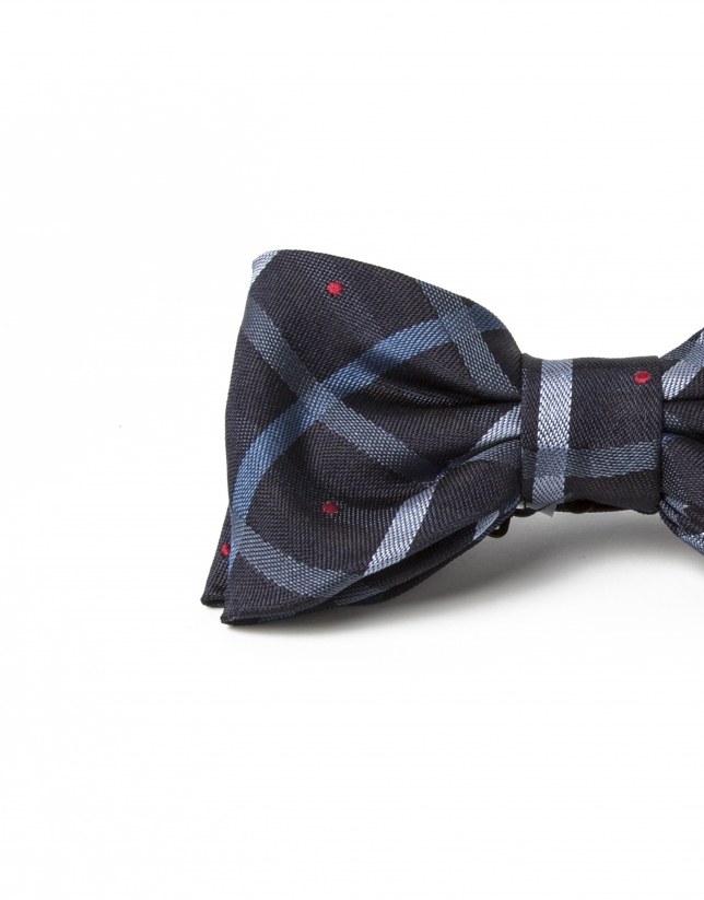 Beige/green checked bowtie with red dots