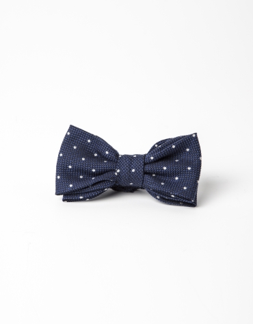 Gray bowtie with beige dots