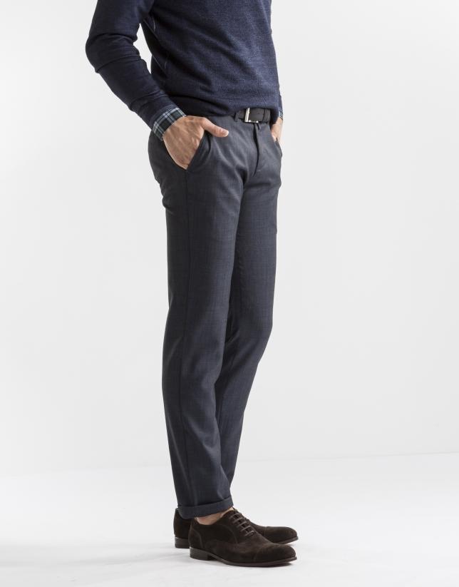 Pantalón vestir microdibujo azul