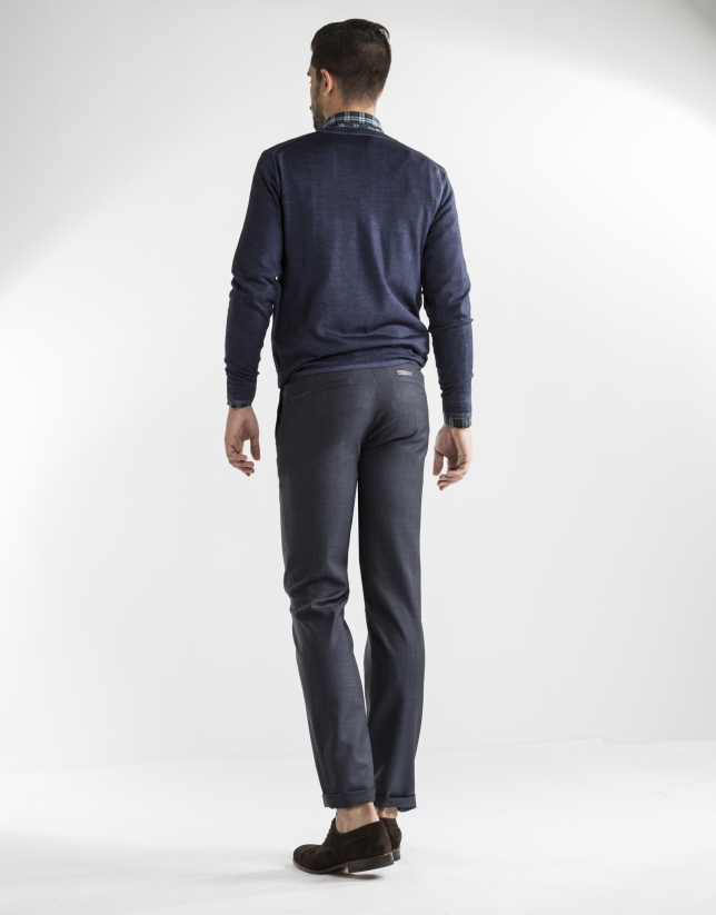Blue microprint dress pants