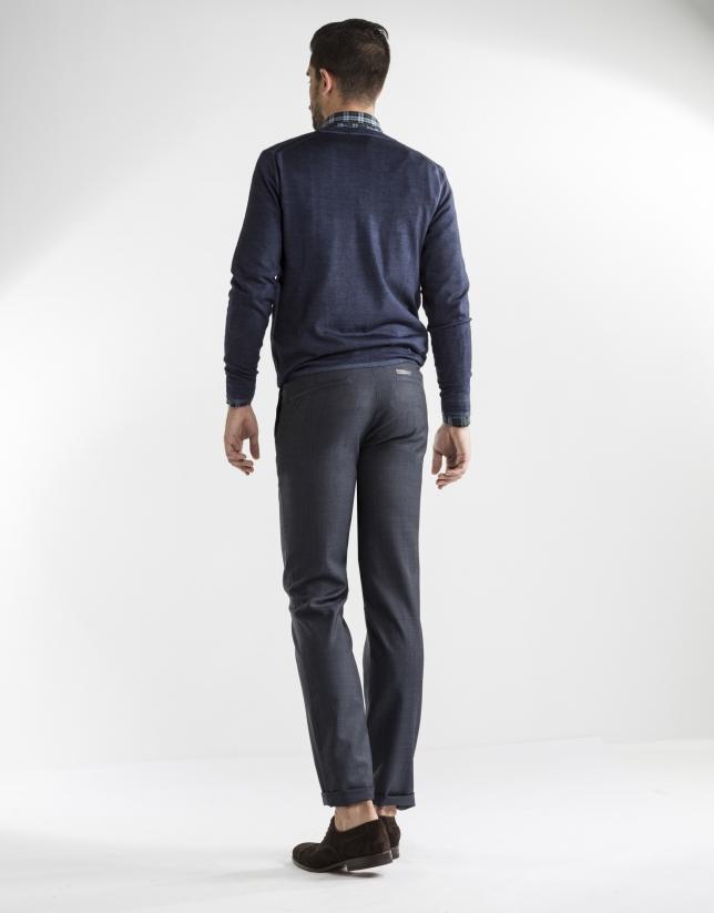 Pantalon costume bleu à micromotifs