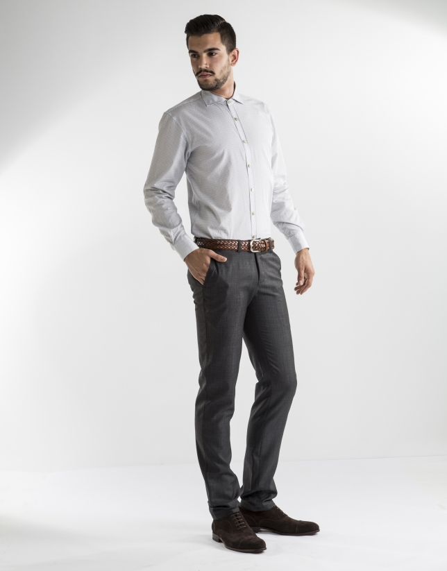 grey microprint dress pants