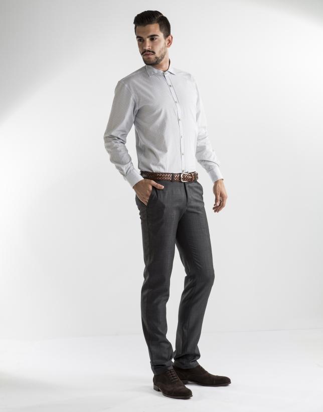 grey microprint dress pants
