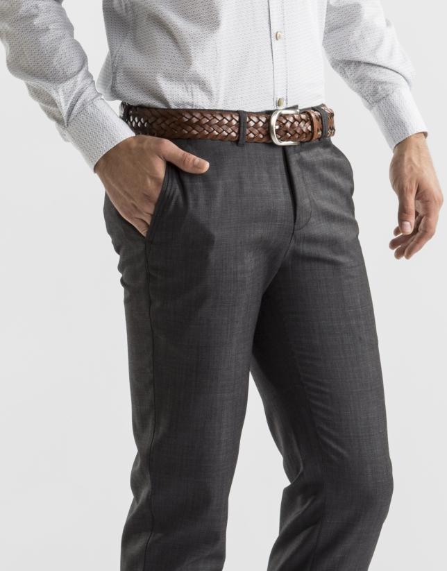 Pantalon costume gris à micromotifs