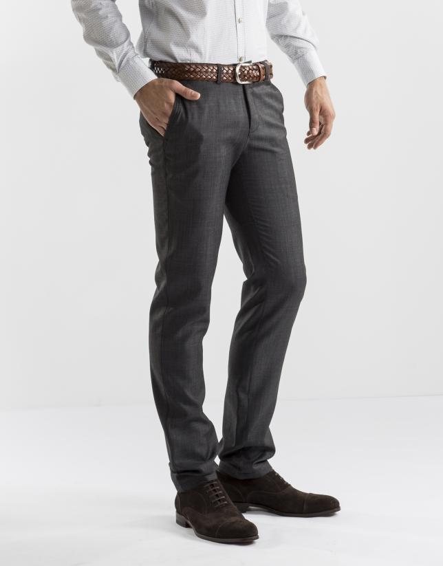 Pantalón vestir microdibujo gris