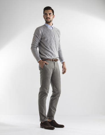 Gray microprint pants