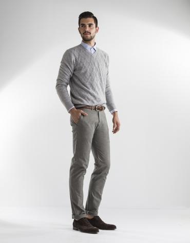 Pantalon gris à micromotifs