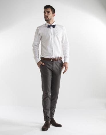 Pantalon costume couleur taupe à micromotifs