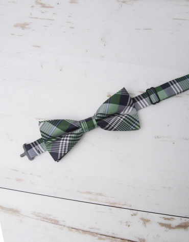 Green/navy blue/ light blue checked bowtie