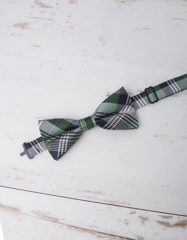 Green/navy blue/ light blue checked bowtie