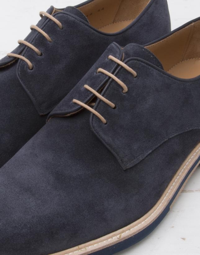 Zapato cordones serraje marino