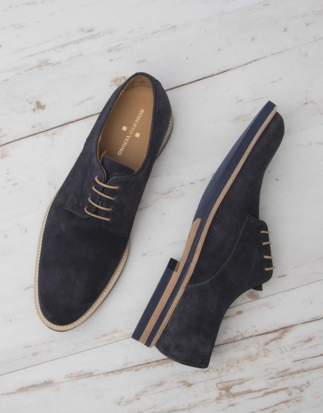 Chaussure à lacet, croûte de cuir bleu marine