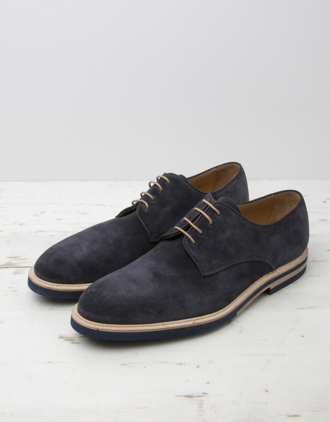 Navy blue split leather laced shoes
