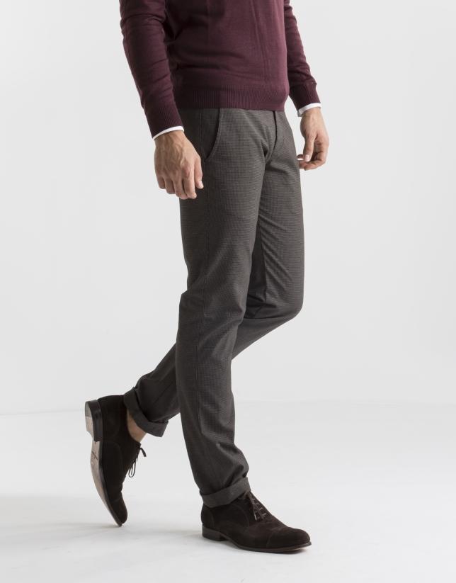 Pantalon ville à micro pied de poule gris