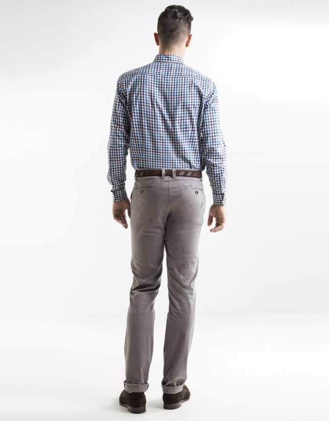 Beige herringbone print sport pants