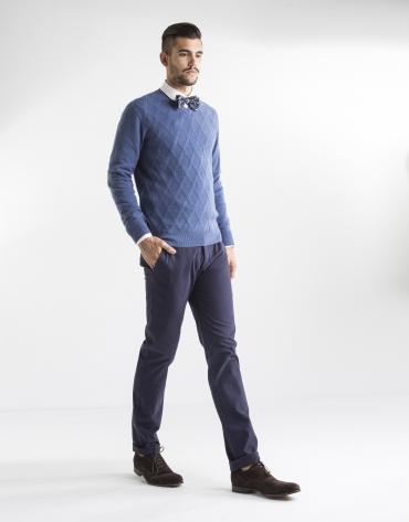 Dark blue herringbone print sport pants