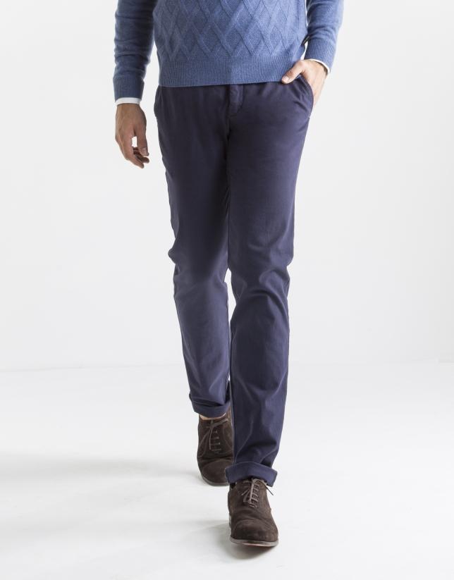 Pantalon ville à chevrons bleu foncé