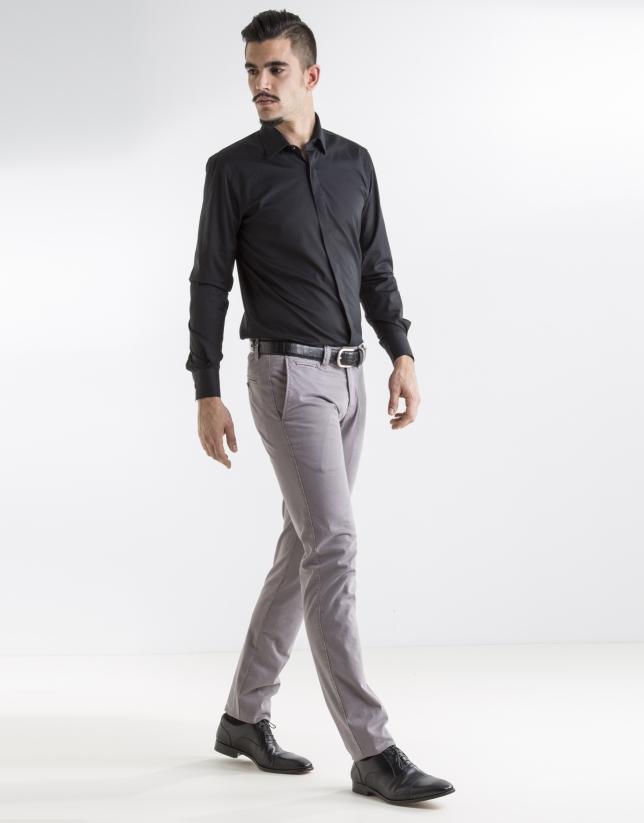 Pantalon ville imprimé gris clair