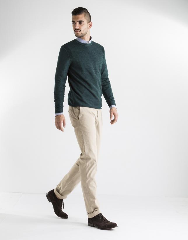 Pantalón sport liso beige