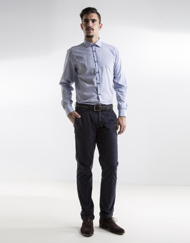 Pantalon ville uni bleu marine