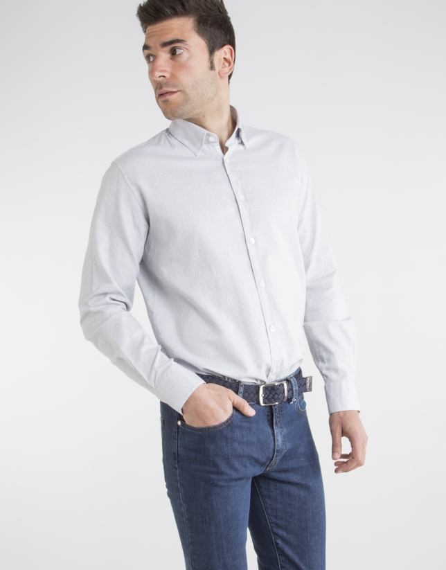 Gray shirt with white dots