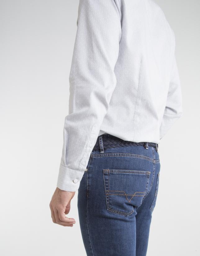 Chemise grise à pois blancs