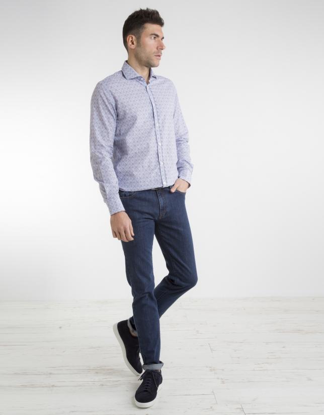Camisa estampada azulon/rojo