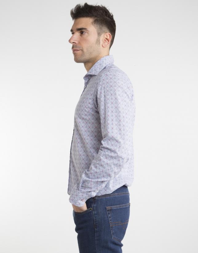 Deep blue/red print shirt