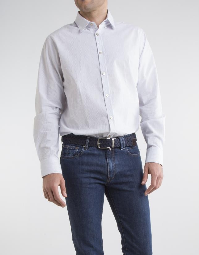 Camisa microraya marino