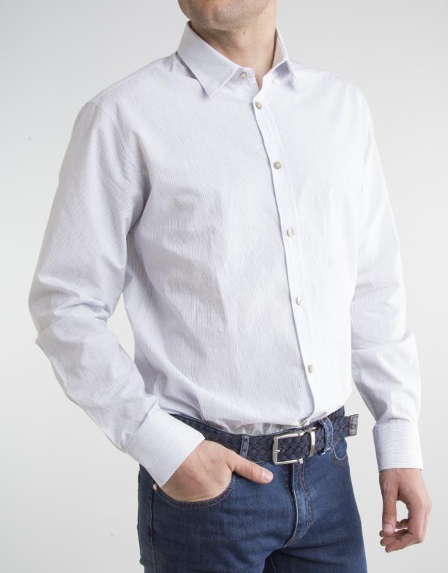 Chemise à microrayures bleu marine