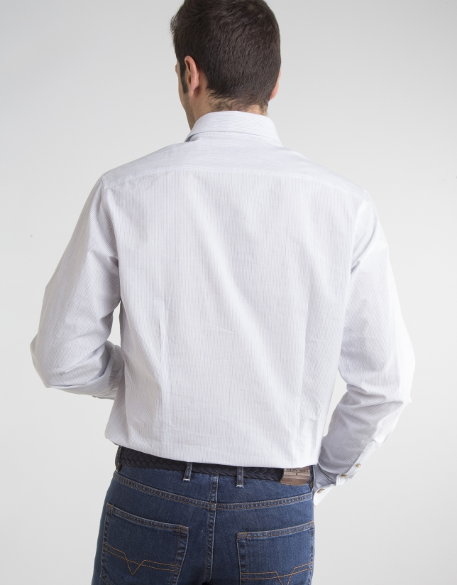 Navy blue micro striped shirt