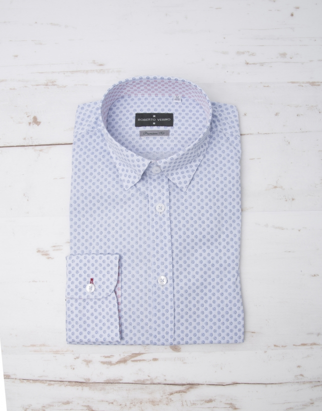 Navy blue pinstriped shirt
