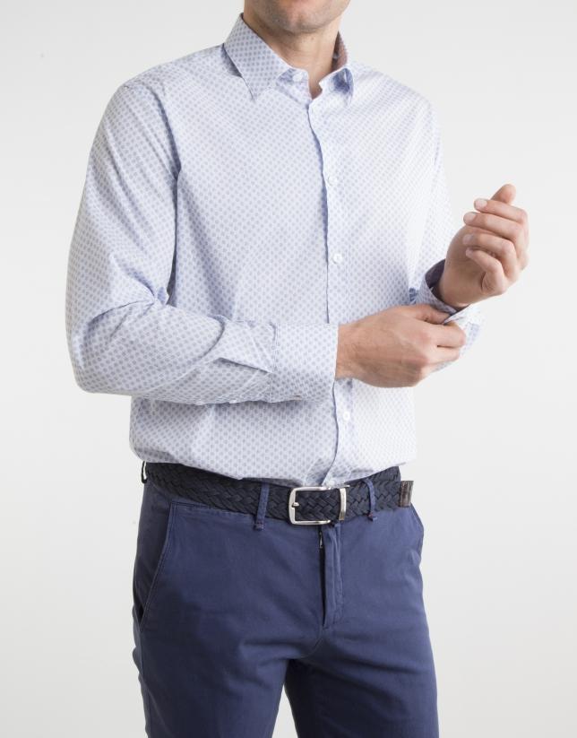 Chemise à milleraies bleu marine