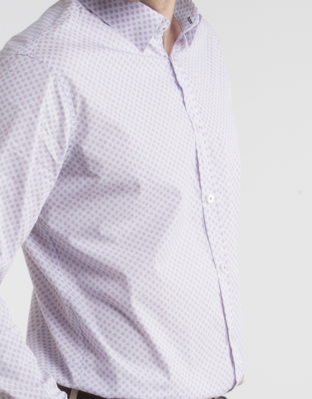 Navy blue pinstriped shirt with red dots