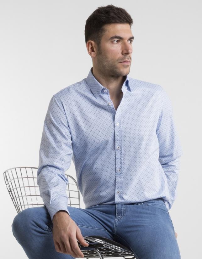 Camisa Oxford celeste topos azules