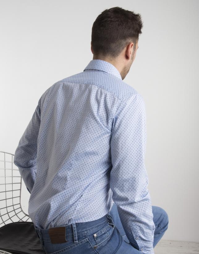 Light blue Oxford shirt with blue dots