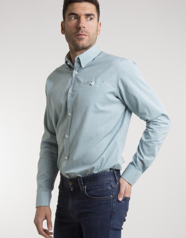 Camisa cuadros verde/blanco