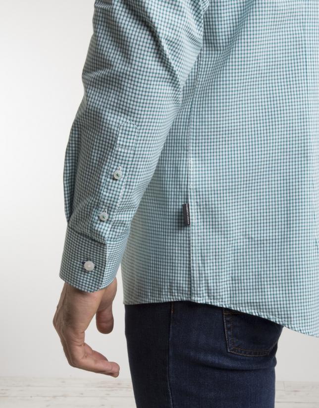 Chemise à carreaux en vert/blanc