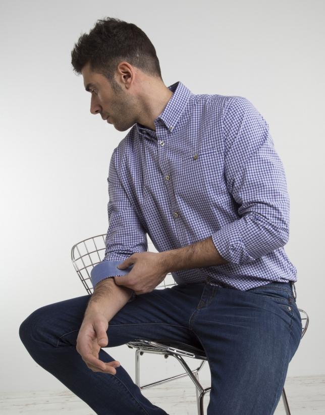 Chemise à carreaux en bleu ciel/rouge