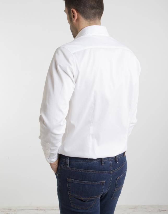 Camisa algodón estampado blanco