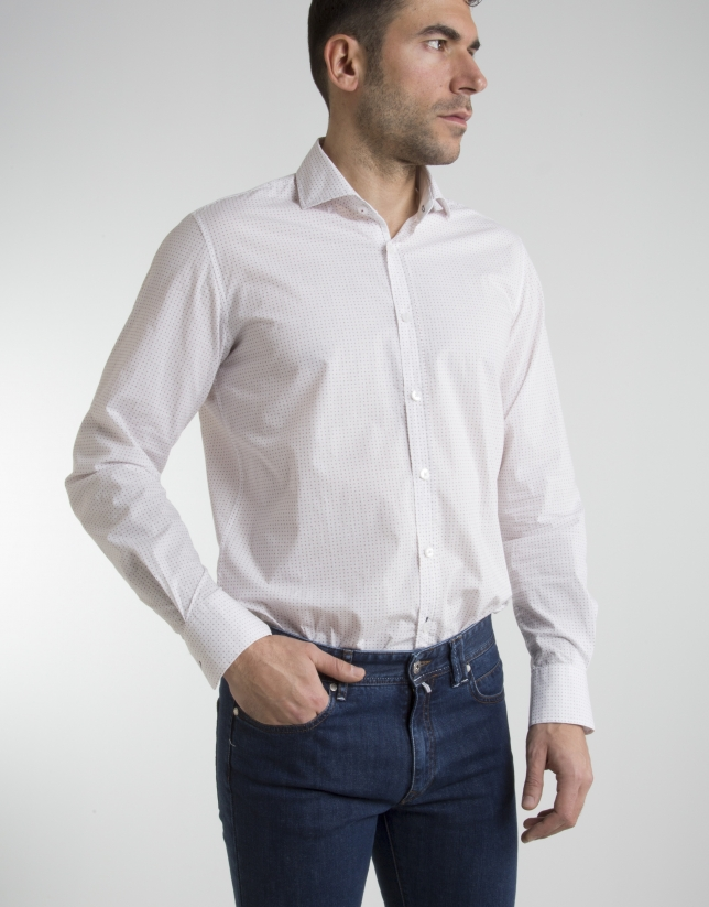 Burgundy dotted shirt